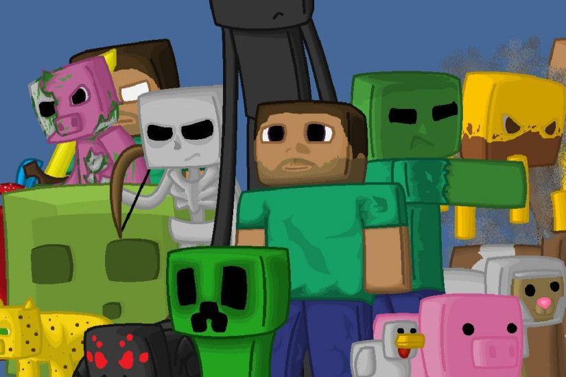 Preview wallpaper minecraft, characters, game, pixels, java 2048x2048