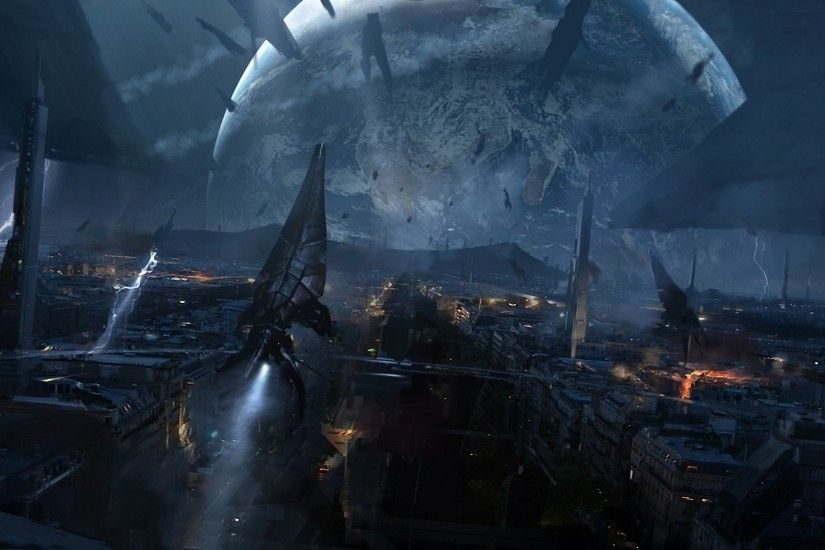 mass effect 3 reapers ships reapers planet town