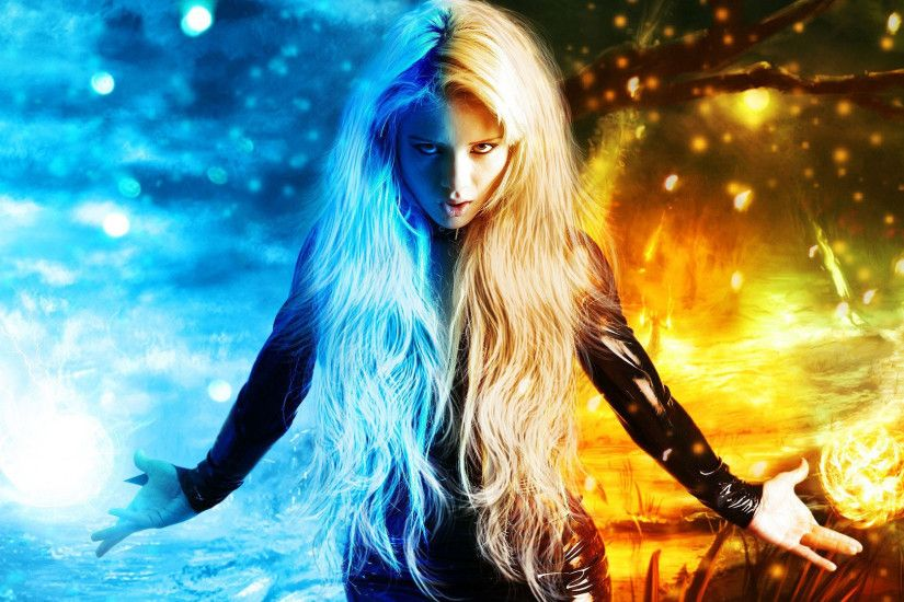 hd pics photos art fantasy digital art magic x men fire ice girl wallpaper