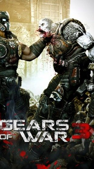 Preview wallpaper gears of war 3, character, monster, gun, soldier 1080x1920