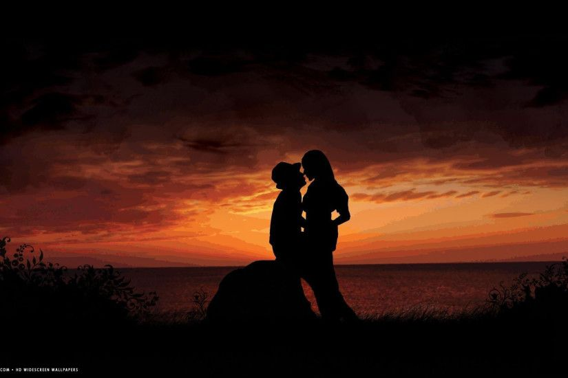 ... romantic kiss sunset love couple evening seaside shadow