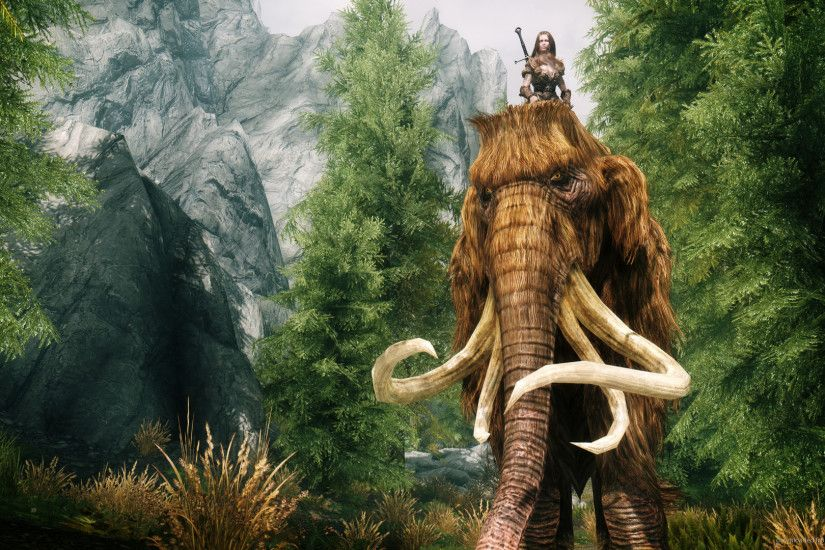 HD Skyrim Riding a Mammoth wallpaper