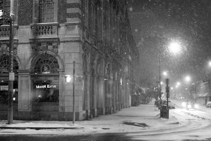 Download Wallpaper 1920x1080 city, street, snow, winter, lane, black white  Full HD 1080p HD Background