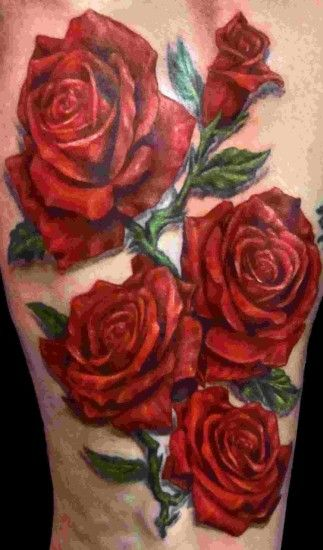 Black background tattoo rose tattoo designs images and picture ideas my th  beautiful purple red roses .
