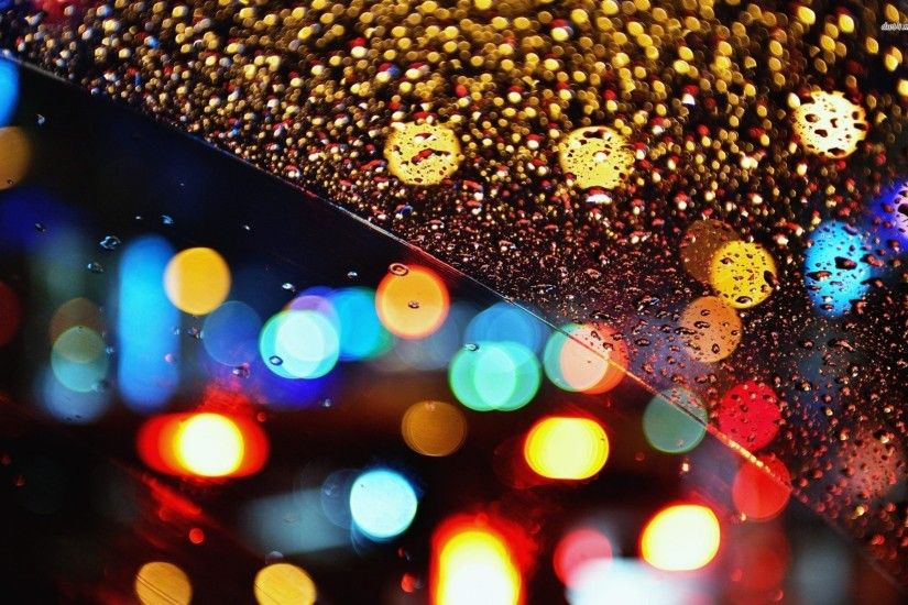 Multicolored Lights Behind The Rainy Window 709115 ...
