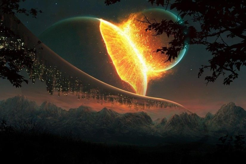 planet, Explosion, Lights, Fantasy Art, Mountain Wallpapers HD / Desktop  and Mobile Backgrounds