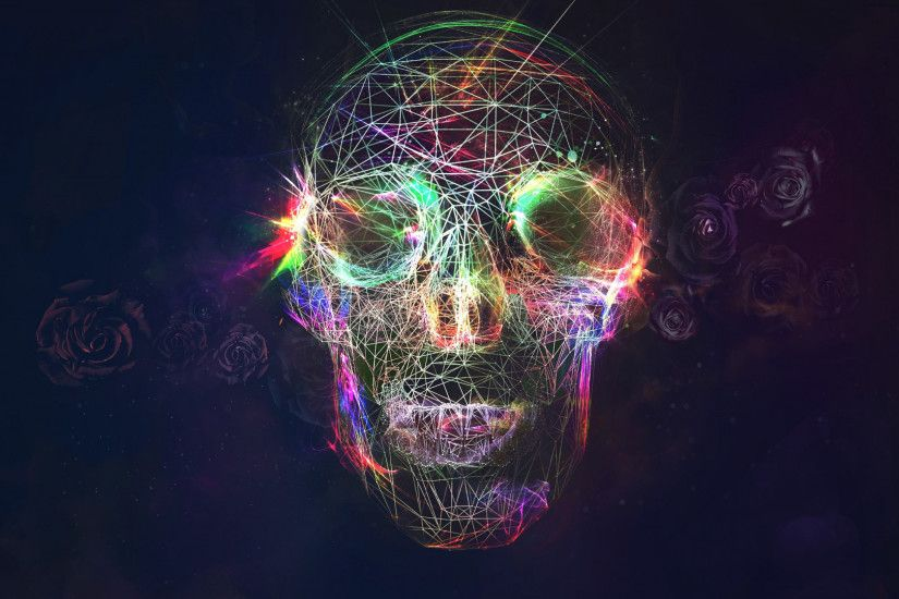 Preview wallpaper skull, abstract, bright, background 1920x1080