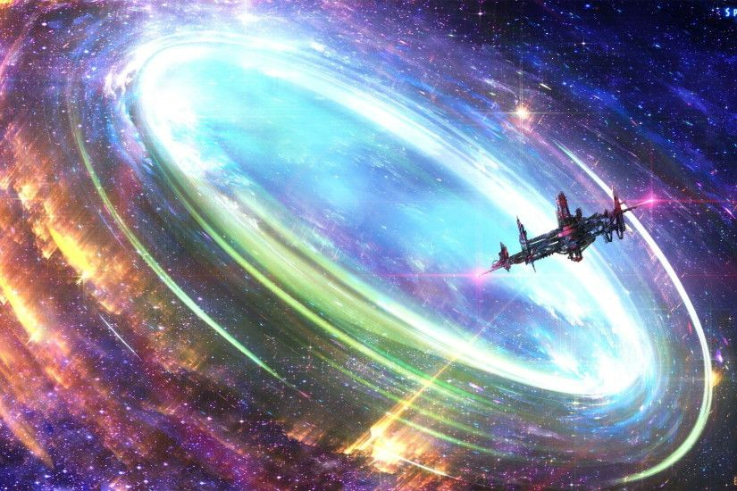 Spiritus space ship entering wormhole painting, artwork, space, space art,  spaceship HD