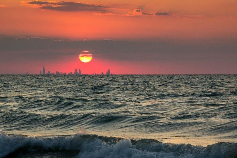 Indiana Tag - Chicago Skyline Beach Indiana Sunset Lake Sky Waves Sun  Pictures Night for HD