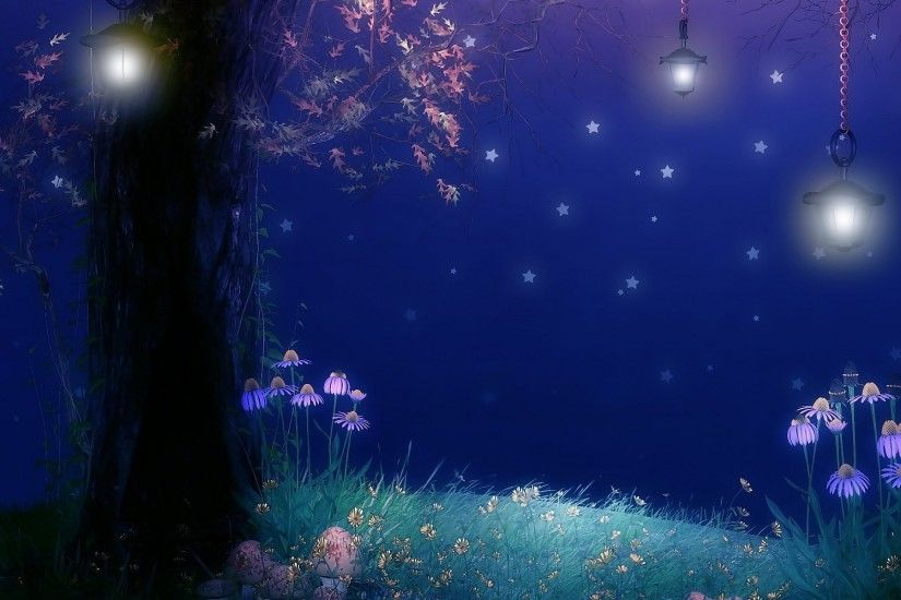 Artistic - Fantasy Artistic Forest Flower Night Tree Lantern Wallpaper