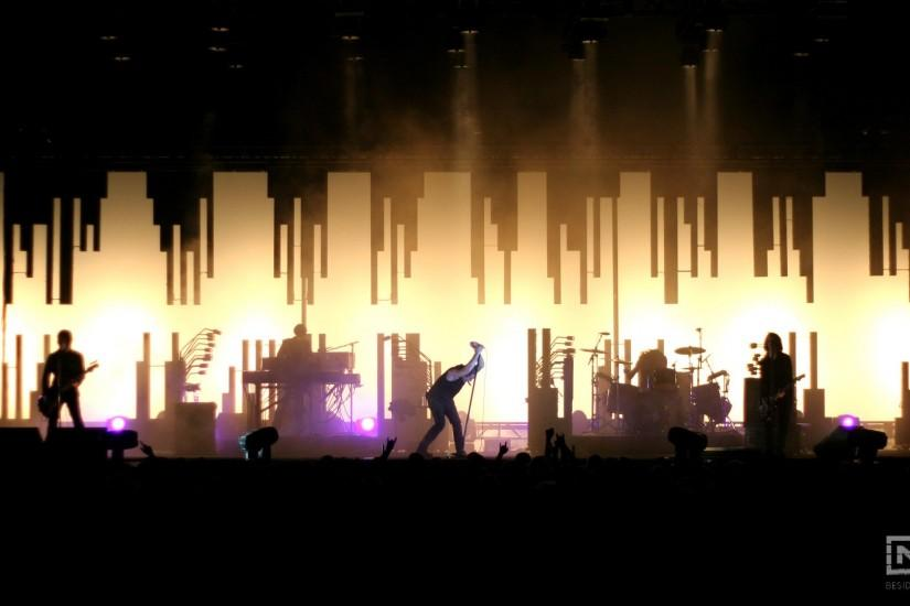 Preview wallpaper nine inch nails, show, concert, members, silhouette  1920x1080