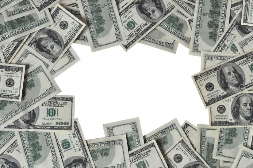 1920x1080 Wallpaper dollars, frame, money, white background