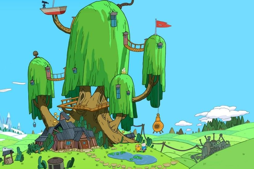 Adventure Time Adventure Time with Finn and Jake tree house trees wallpaper  (#1995436)