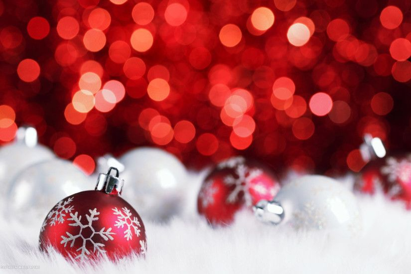 red silver christmas balls decorations bokeh holiday hd widescreen wallpaper