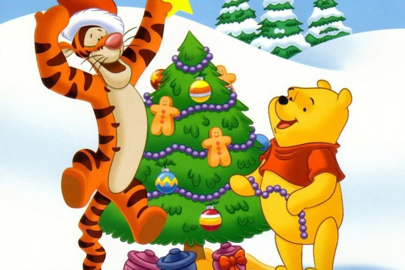 1920x1080 Wallpaper new year, christmas, cartoon film, bear cub, tiger,  winnie