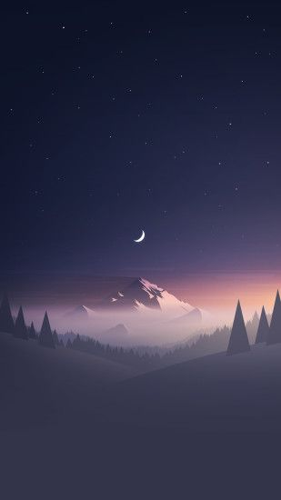 Stars And Moon Winter Mountain Landscape iPhone 6+ HD Wallpaper - http://