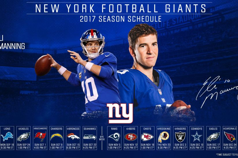 Click one of the thumbnails below to download the New York Giants 2017  schedule desktop wallpaper. For desktop wallpapers, right-click on the  image and ...