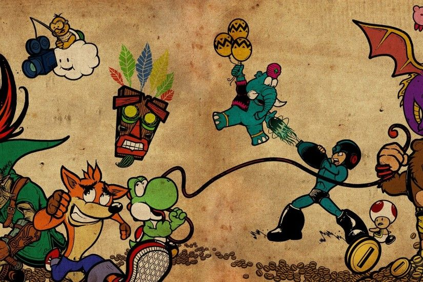 General 3840x1080 Pokémon trainers Mega Man Nintendo video games The Legend  of Zelda Link Yoshi Kirby