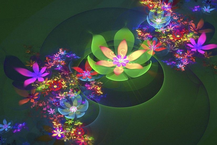 3D abstract cg flowers colorful HD backgrounds - desktop wallpapers