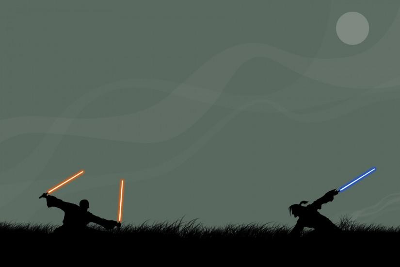 Lightsabers Silhouettes Simplistic Star Wars Wallpaper