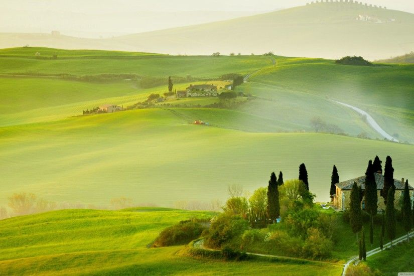 3554x1999 Tuscany Spring Landscape ❤ 4K HD Desktop Wallpaper for • Dual