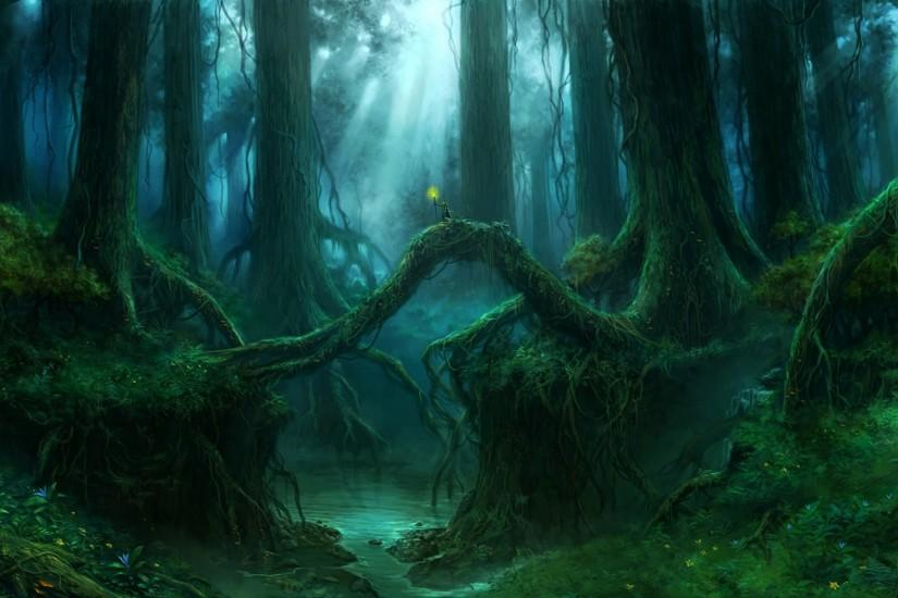 gothic forest | Gothic Forest Trees Fantasy river mood wallpaper background