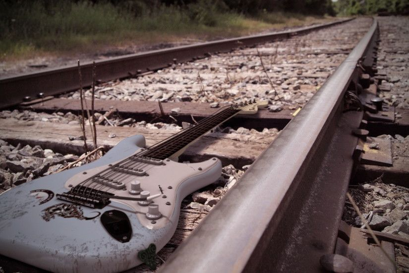 ... electric guitar on the railroad wallpapers and images wallpapers ...