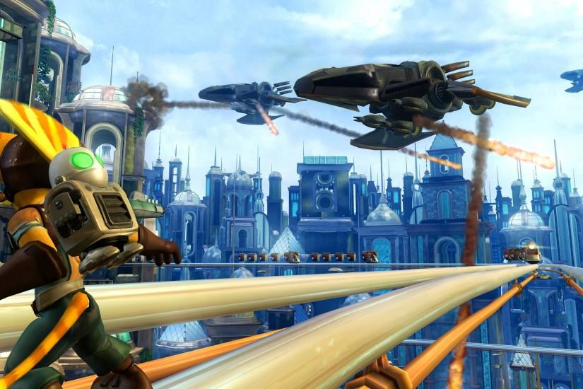 video Games, Screenshots, Ratchet And Clank, Airships, City, Ratchet And  Clank Future: Tools Of Destruction Wallpaper HD