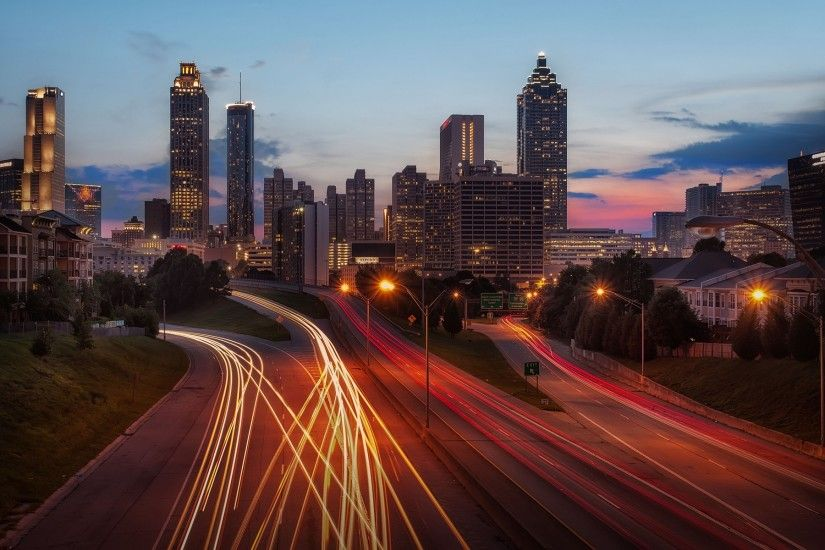 Skyscrapers Atlanta long exposure dusk cities wallpaper | 1920x1200 |  216289 | WallpaperUP