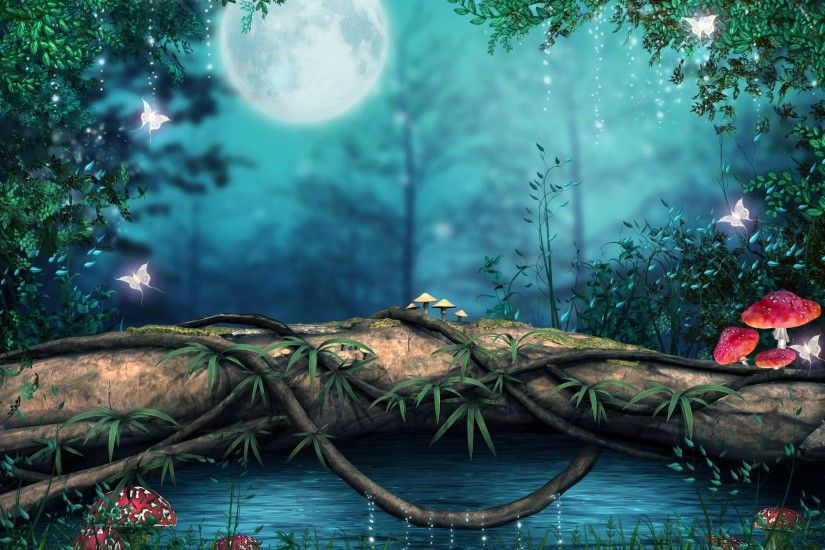 3d full moon night nature high definition wallpapers