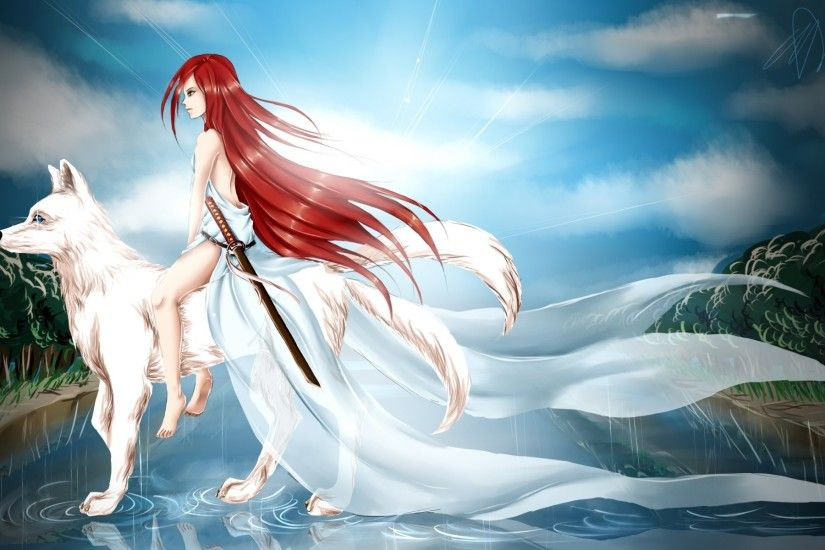 anime art girl red hair section dress the sword . weapons white wolf rain  water reflection