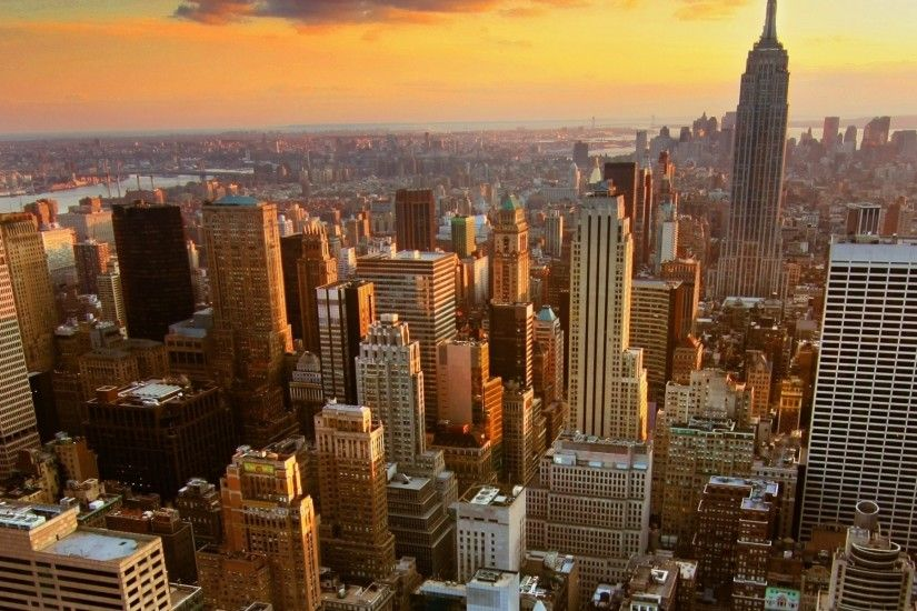 Preview wallpaper new york, home, skyscrapers, rooftops, sunset 3840x1200