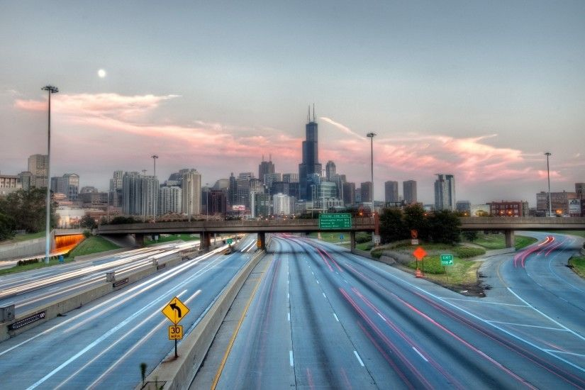 1920x1080 Wallpaper chicago, usa, highway, road, hdr