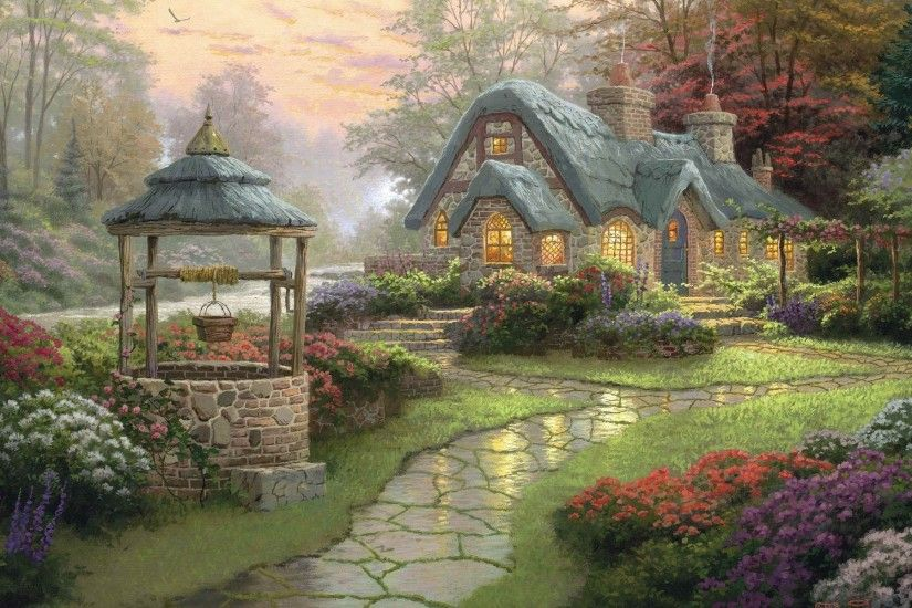 Wallpapers Backgrounds - landscape painting cottage wood flowers kinkade  thomas wallpapers