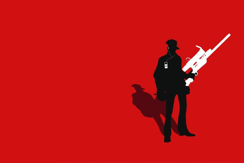 ... TF2 Red Sniper Silhouette iPod Earbuds 2560x1600 by cwegrecki