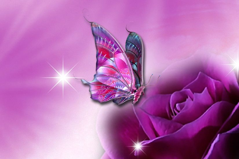Hd Pics Photos Beautiful 3d Fancy Rose Flower Butterfly Pink Quality Desktop Background Wallpaper