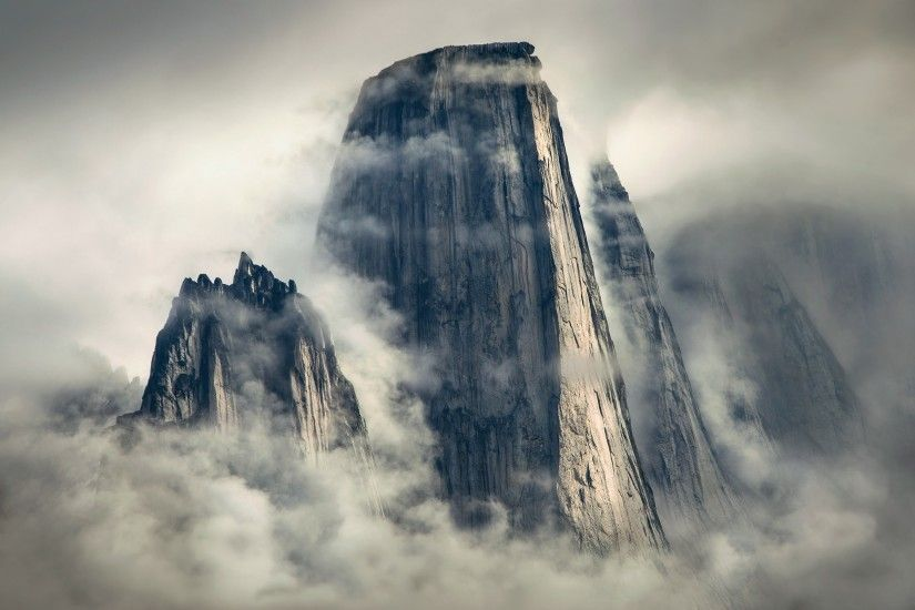 General 2500x1669 nature landscape mountains clouds mist cliff vertical  Greenland sunlight