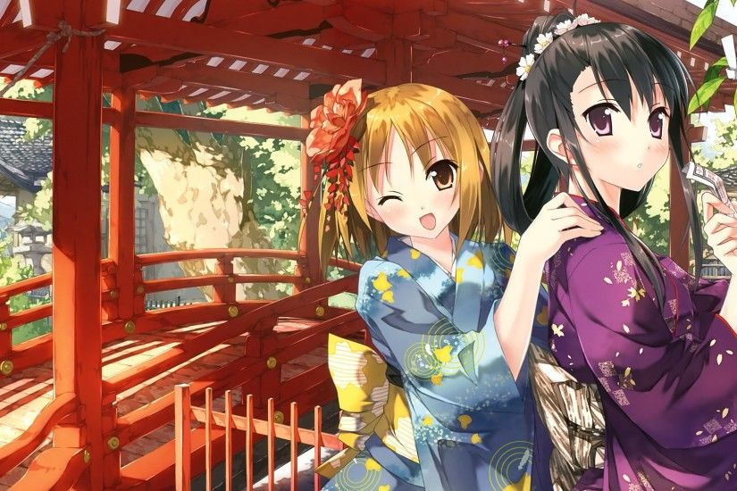 Anime - Original Pretty Cute Japanese Clothes Smile Scenic Short Hair Long  Hair Wallpaper