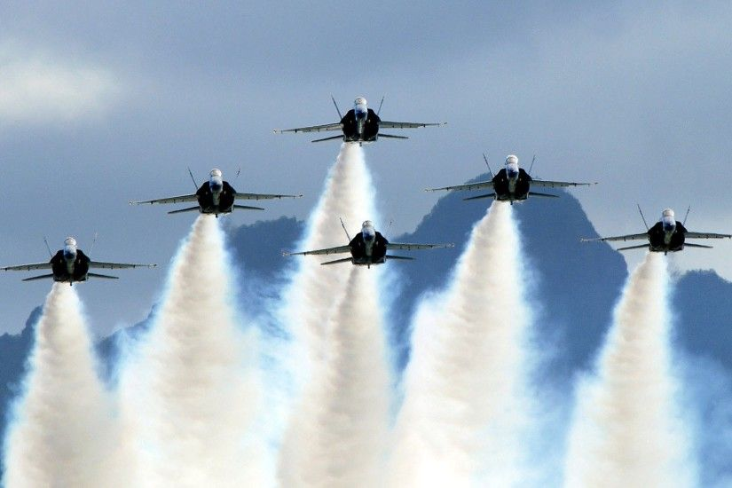 Blue Angels FA-18 Hornets In Delta Formation - US Navy