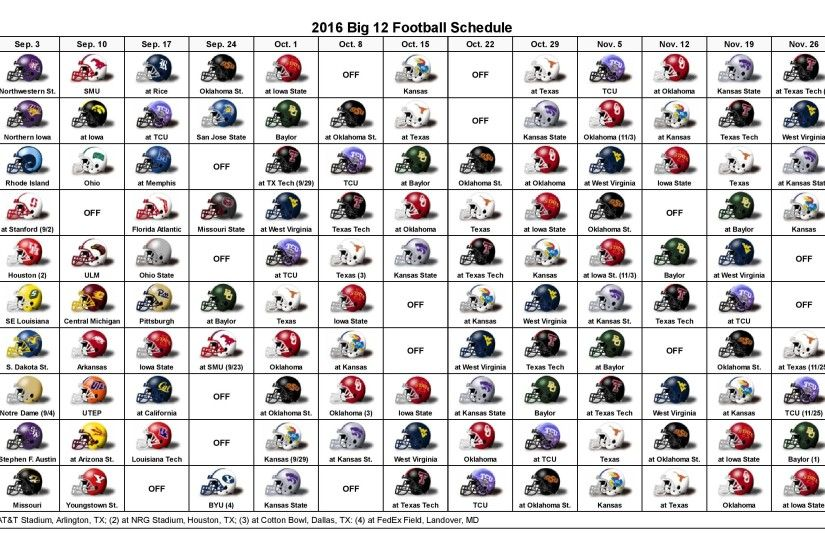 The Big 12 football helmet schedule has been released. We have included a  printable version of the full 2016 college football season schedule for  league ...