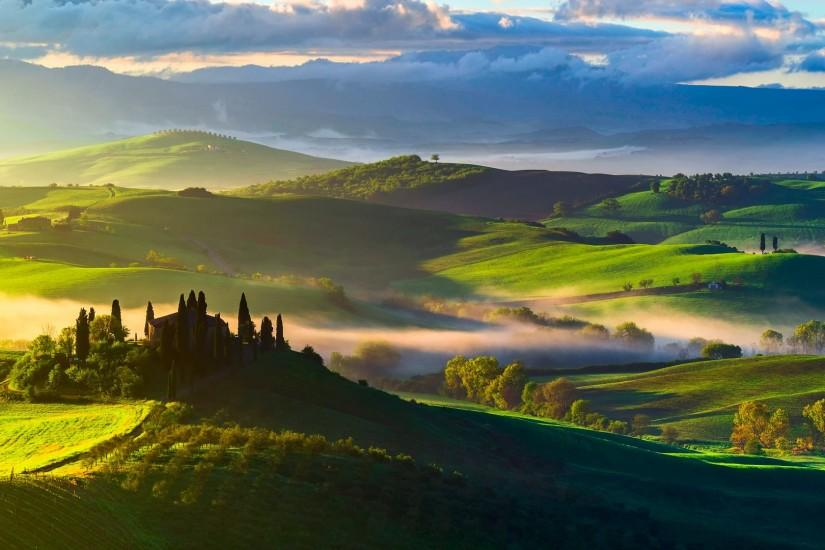 Preview wallpaper italy, tuscany, fields, trees, top view, fog 1920x1080