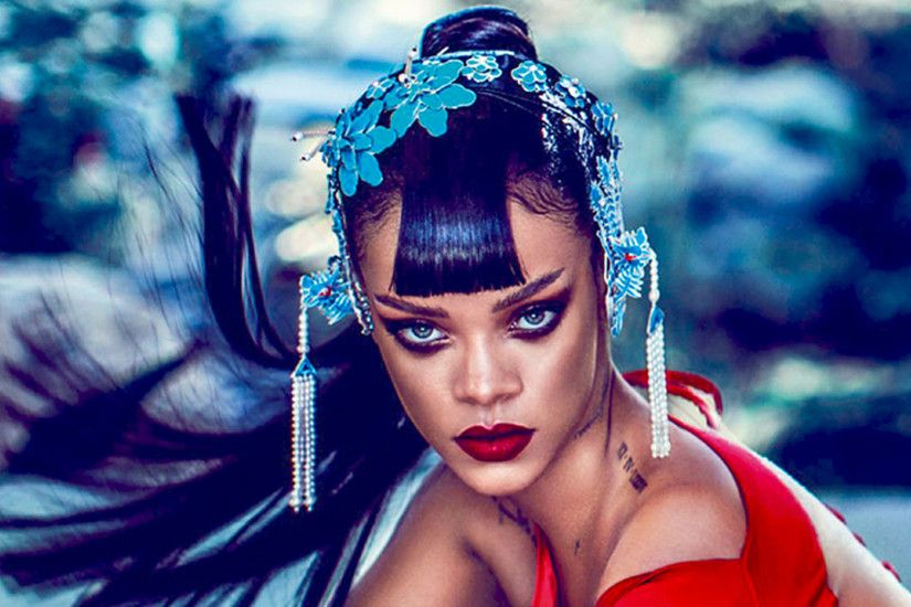 ... wallpaper zone: Black and White Rihanna Red Haired HD Wallpaper ...