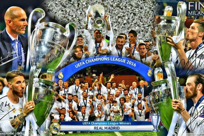 REAL MADRID CHAMPIONS LEAGUE WINNERS 2016 HD desktop wallpaper .