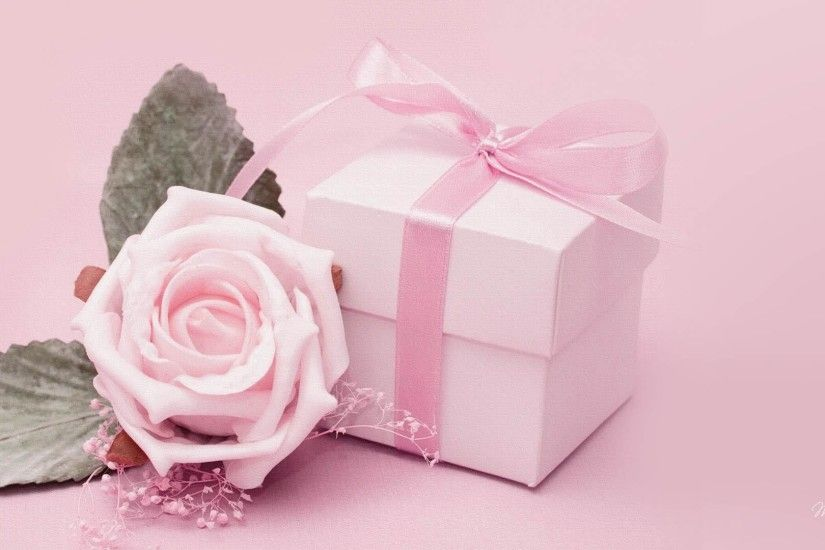 Romantic Gift for Her - Pink Rose and Gift HD Wallpaper