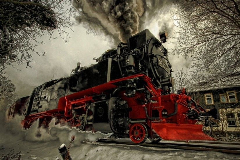 steam engine winter snow