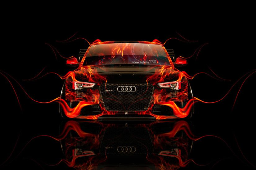 Audi RS5 Tuning Front Fire Car 2014 HD