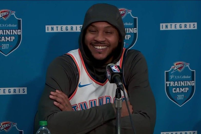 Carmelo Anthony at news conference on Monday.