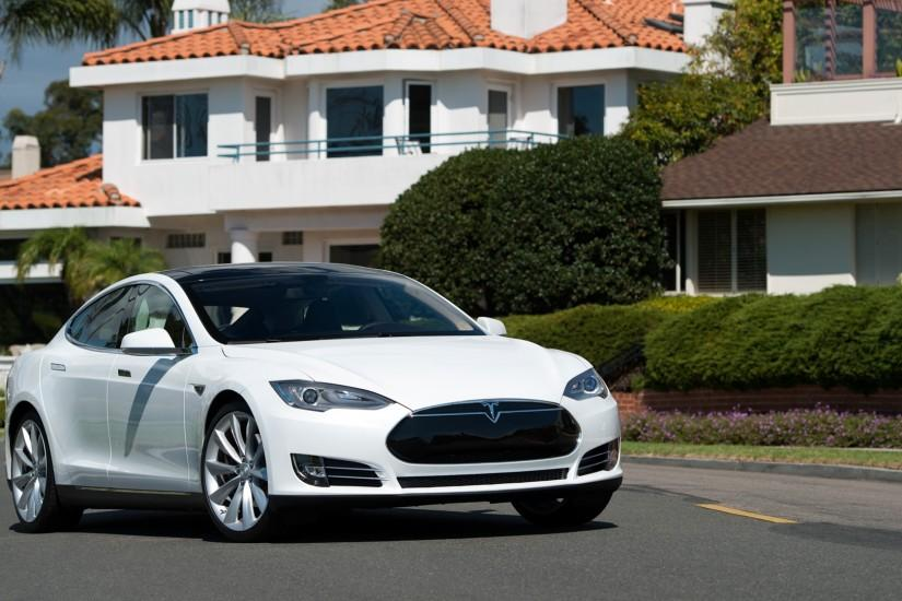3840x2160 Wallpaper tesla, model s, tesla model s, white, city