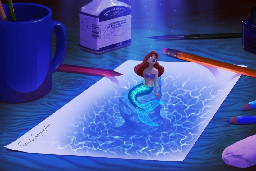 Little Mermaid Ariel Drawing Mermaid Paper wallpaper | 2560x1600 .