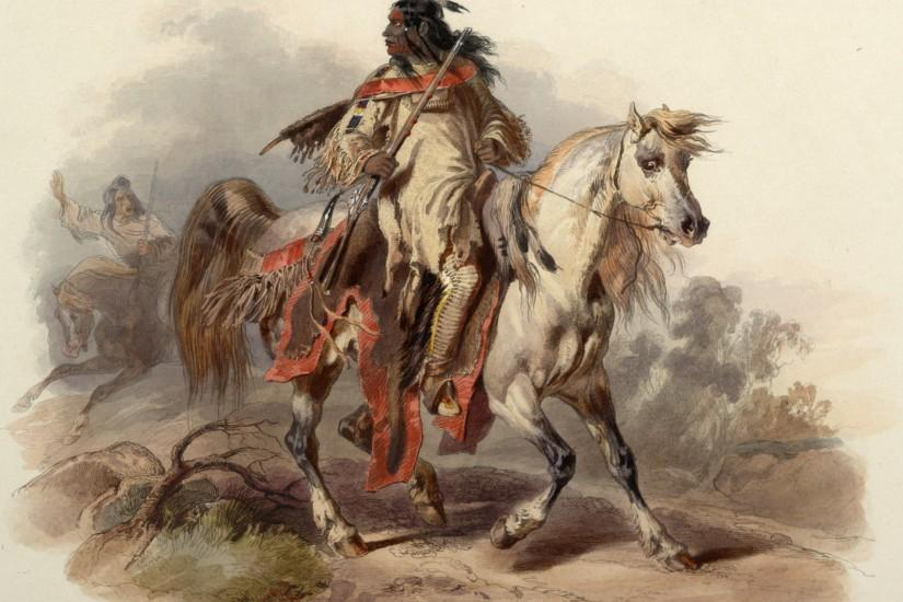 Native American warrior on horseback with a wagon train and fort .
